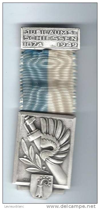 SUISSE/ Médaille/ Sport/TIR/Jubilaums-Schiessen 1874-1949/Aigle,fusil ,olivier/BÄLE/Kramer/Neuchâtel/1949 SUI41 - Sports