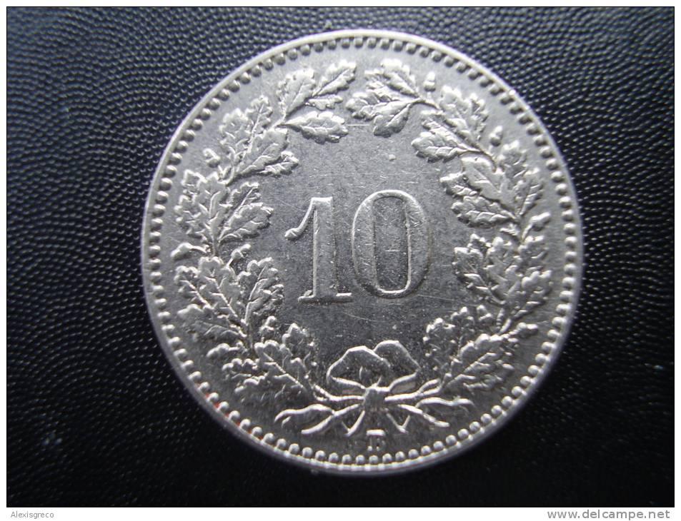 SWITZERLAND 1938B  TEN RAPPEN Nickel USED COIN In GOOD CONDITION. - Suiza