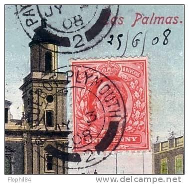 ESPAGNE-DE LAS PALMAS -TIMBRE ANGLAIS OBLITERATION PAQUEBOT PLYMOUTH 3-5-1908-CARTE POSTALE POUR LA FRANCE. - Lettres & Documents