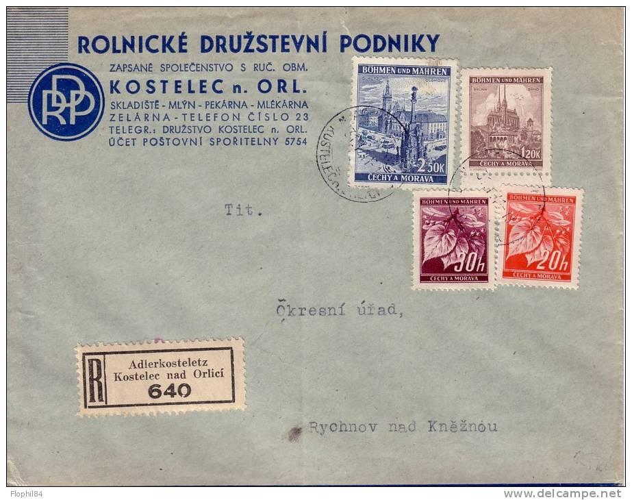 BOHEME ET MORAVIE-BEL AFFRANCHISSEMENT DE KOSTELEC RECOMMANDE LE 31-7-1941. - Storia Postale