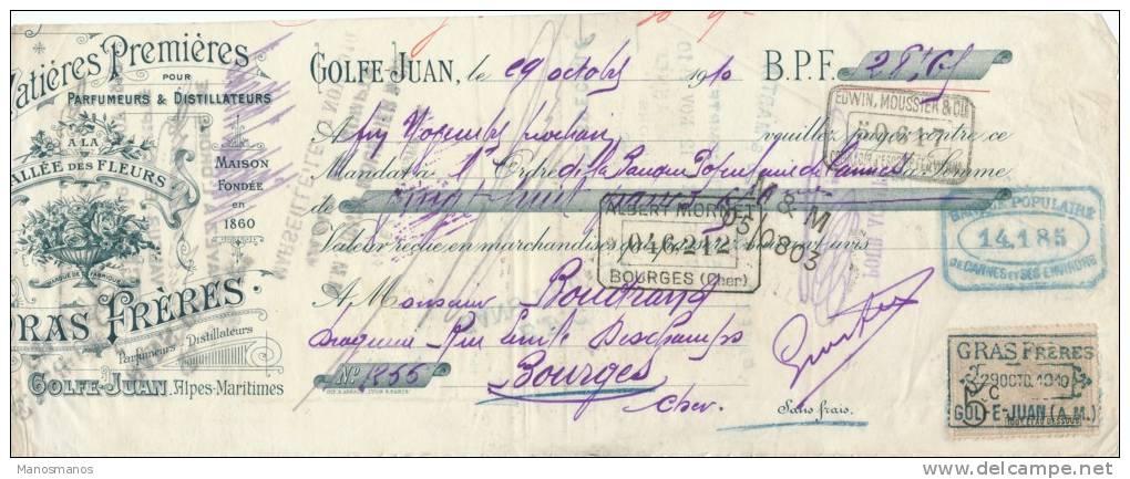 227/20 - Mandat à Ordre Illustré Fleurs GOLFE JUAN 1910 - Entete Parfumeurs Distillateurs Gras Frères  - TP Fiscal 5 C. - Fiscaux