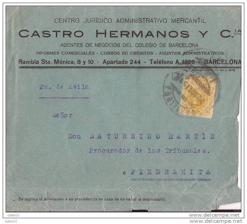 ESCA271-LC224TPUO.CARTA DE BARCELONA A PIEDRAHITA(Avila).¿1911?. (Ed 271).MUY BONITA - Otros