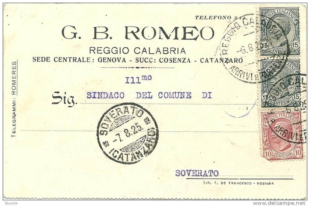 PUBBLICITARIA COMMERCIALE 1925 REGGIO CALABRIA VERSO SOVERATO CARTOLINA G.B.ROMEO - Marcophilie