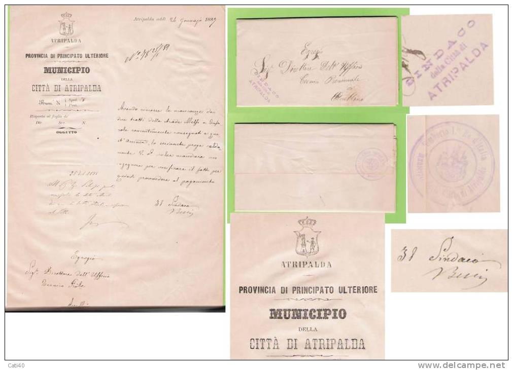 1887 - ATRIPALDA - INTERESSANTE DOCUMENTO CON FIRMA AUTOGRAFA DEL SINDACO - Documenti Storici