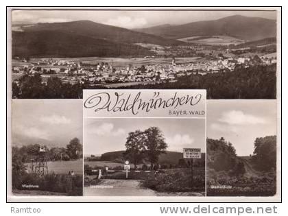Waldmünchen , Bayer. Wald , Mehrbildkarte , Wachturm - Landesgrenze - Stacheldraht - Cham