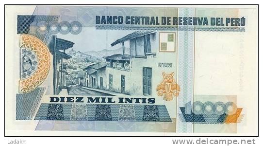BILLET # PEROU # 1988 # DIEZ MIL INTIS  # DIX MILLE INTIS # NEUF # CESAR VALLEJO - Pérou