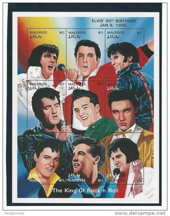 Maldives: 2091/ 2099 **  En Feuillet - Elvis Presley