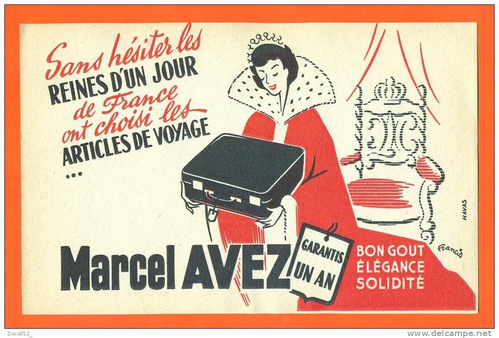 """Buvard  """"  Bagages Marcel Avez  """"  Emission O R T F Reines D'un Jour - Parfums & Beauté"""