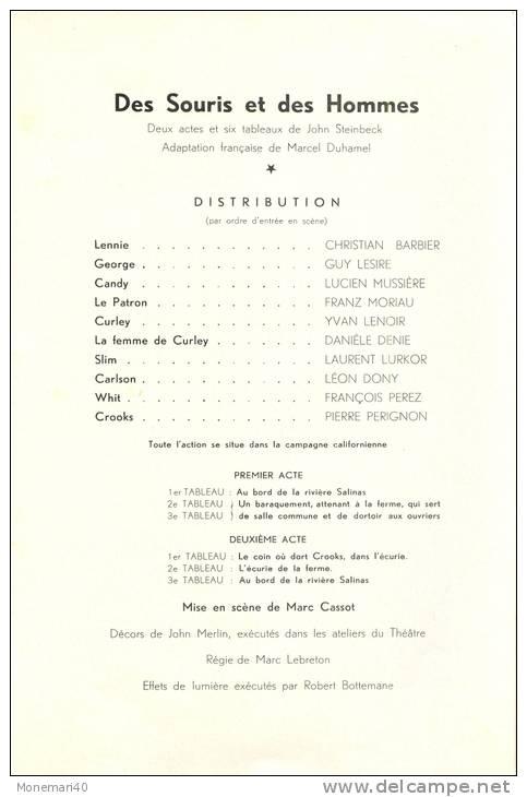 Ancien Programme Du THEATRE MIOLIERE (Direction Georges JAMIN) - 'DES SOURIS ET DES HOMMES' - Programs