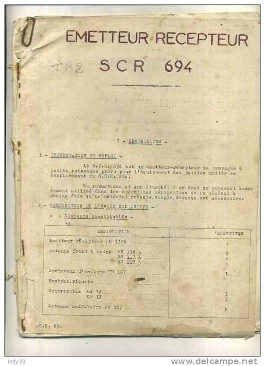 -FASCICULE EMETTEUR RECEPTEUR SCR-694 . E.M.A.T/A.F.N. - Radio