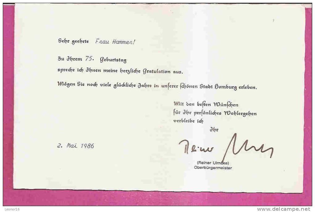 HOMBURG   -  GRATULATION DES OBERBURGERMEISTER Reiner ULMCKE ** ZUM 75 GEBURTSTAG VON FRAU HAMMER **  -  Verlag / -  N°/ - Saarpfalz-Kreis