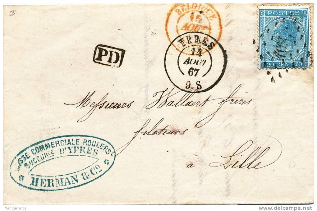 690/20 - Lettre TP 18 Losange De Points 408 YPRES 1867 Vers LILLE - TARIF FRONTALIER - 1865-1866 Profile Left