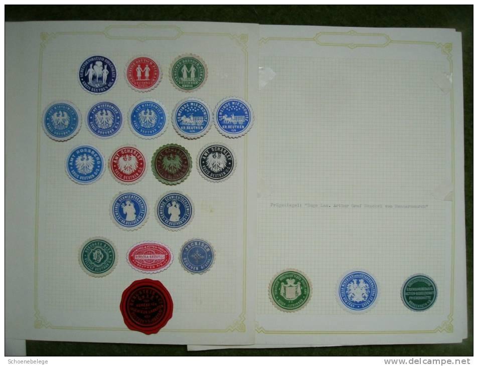 A1741) Oberschlesien Briefverschlussvignetten 218 Stück Als Sammlung Auf Blättern !! - Abstimmungsgebiete