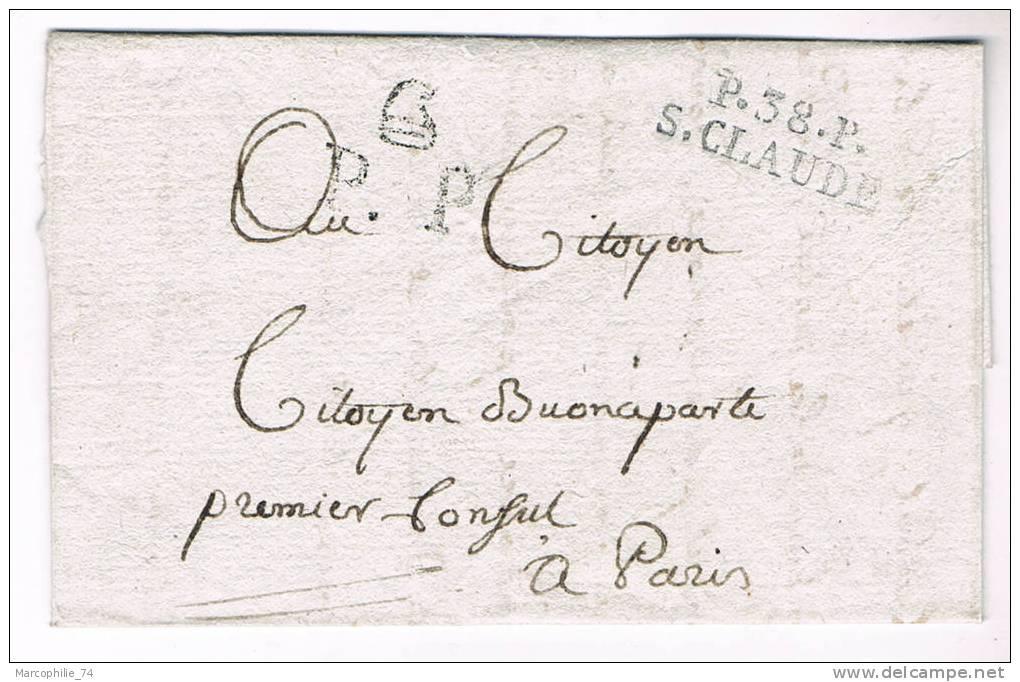 MARQUE JURA P 38P ST CLAUDE AN 8 + PP PHRYGIEN LETTRE / CITOYEN NAPOLEON BONAPARTE PREMIER CONSUL RRR - Postmark Collection (Covers)
