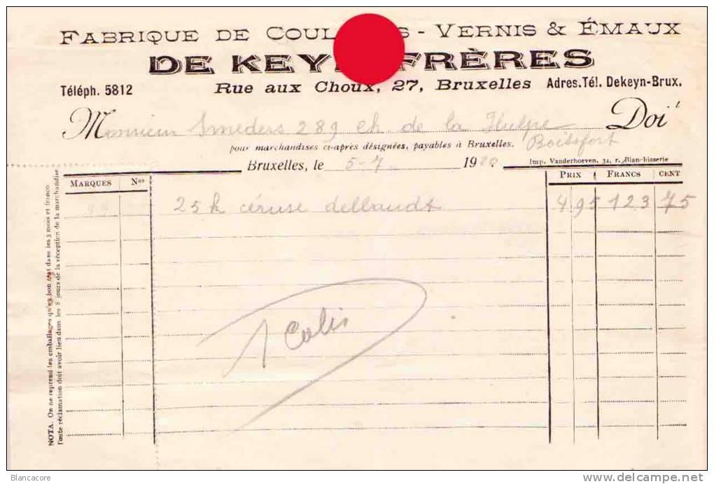 BRUXELLES RUE AUX CHOUX /  Usines DE KEYN FRERES Couleurs Vernis émaux 1920 - Factures & Documents Commerciaux