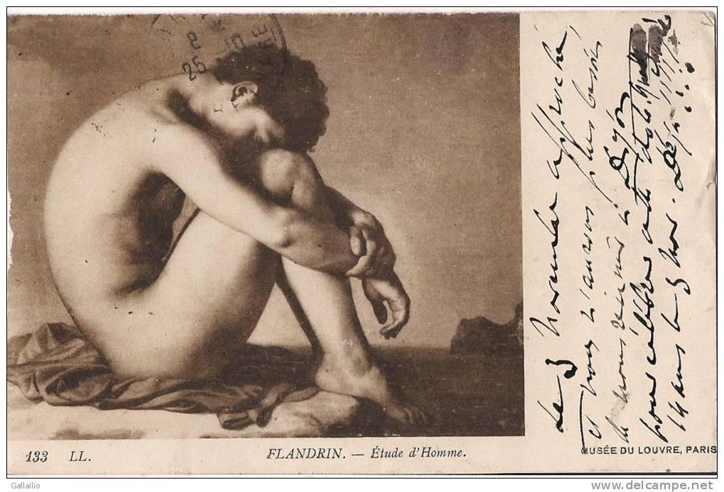 MUSEE DU LOUVRE PARIS ETUDE DE L´HOMME DE FLANDRIN HOMME NU CPA PEU COMMUNE - Musea