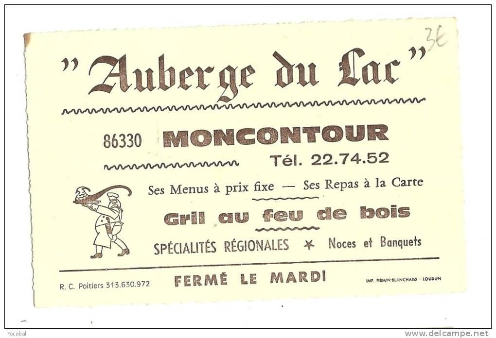 Carte De Visite, Auberge Du Lac - Montcontour (86) - Cartes De Visite