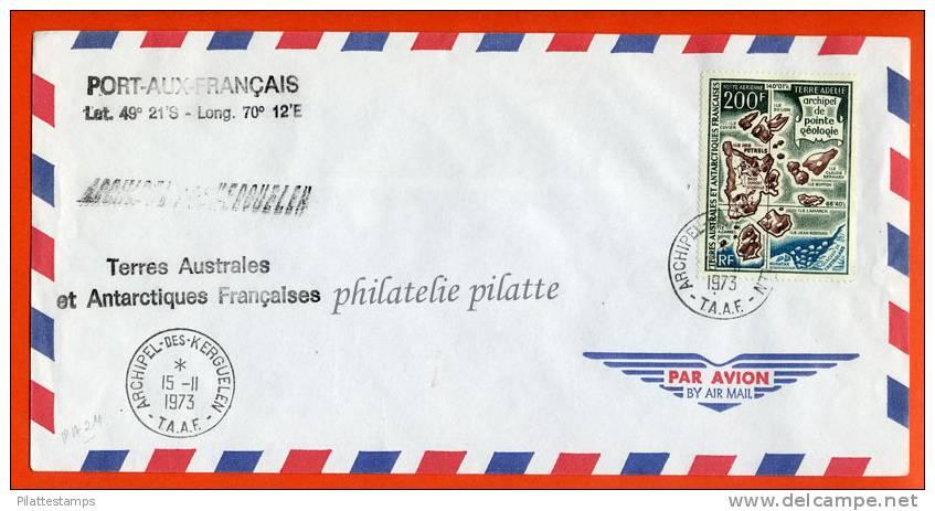 T.A.A.F PA N°24 SUR LETTRE DES KERGUELEN DU 15/11/1973 - Autres