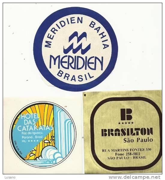 Lot De 3 étiquettes D´hôtel Pour Bagages Du Brésil - Hotel Labels