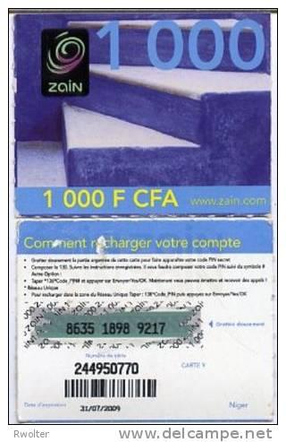 @+ Niger - Prépayée Zain - 1000 FCFA - 31/07/2009 - Niger