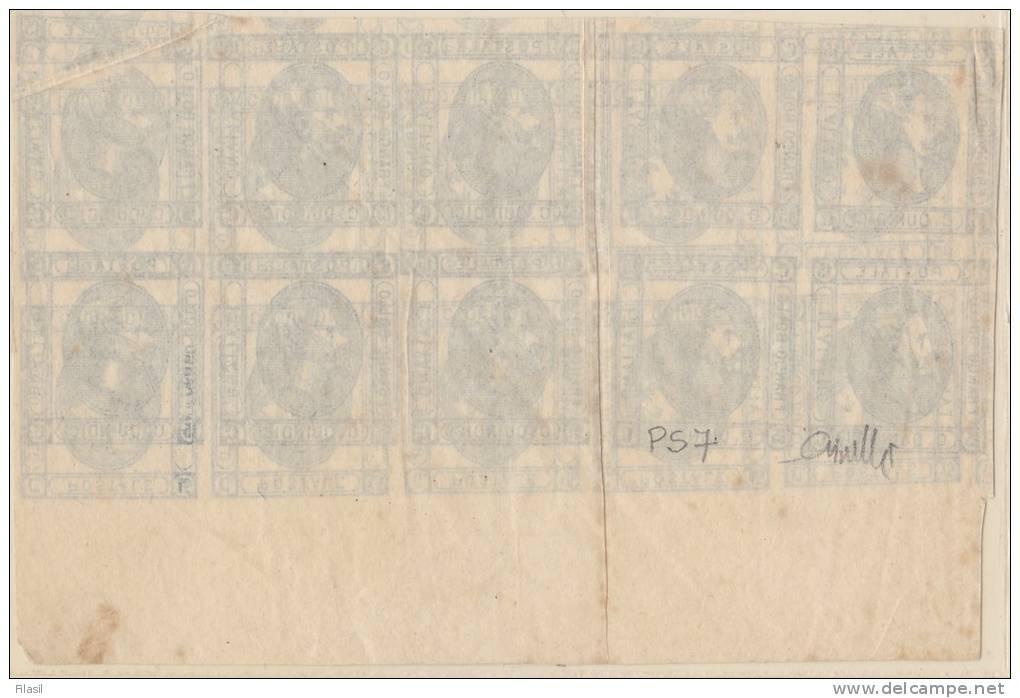 SI53D Italia Italy Regno 15 C. Litografico, PROVA I Tipo Blocco Di 10 Doppia Stampa 1 Capovolta PS37 Certificato GIUSTI - 1861-78 Vittorio Emanuele II