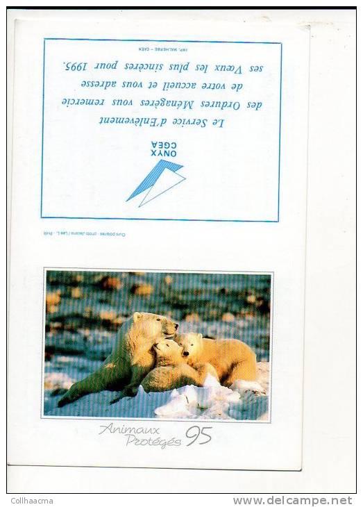 "1995 Calendrier De Poche ""Onyx - CGEA"" Thème Aninaux "" Ours Polaires"" - Calendriers"