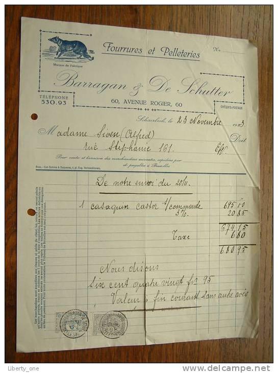BARRAGAN & DE SCHUTTER Foourrures Et Pelleteries SCHAERBEEK - Anno 1923 ( Voor Details Zie Photo ) !! - Facturas & Documentos Mercantiles