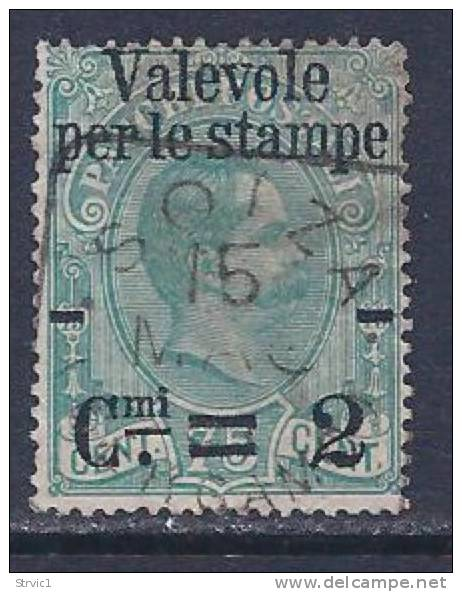 Italy, Scott # 61 Used Humbert L, Parcel Post Stamp Overprinted, 1890, One Short Perf - 1878-00 Umberto I