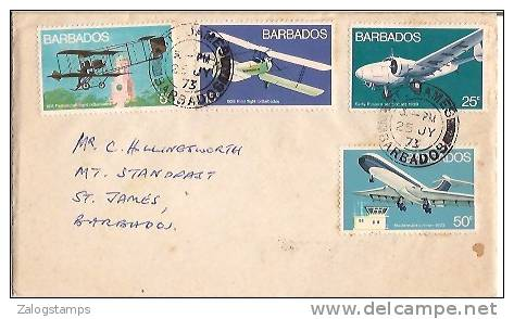 Barbados, Airmail Cover To USA, Stamp, Old Old & Modern Airplanes, (9150) - Barbades (1966-...)