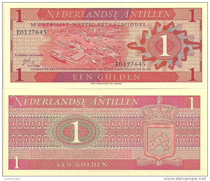 Netherlands Antilles P-20a, 1 Gulden, Harbor View Of Willemstad, Curaçao-$10CV - Bankbiljetten