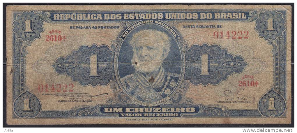 Brazil Banknote Of 1 Cruzeiro - Brésil