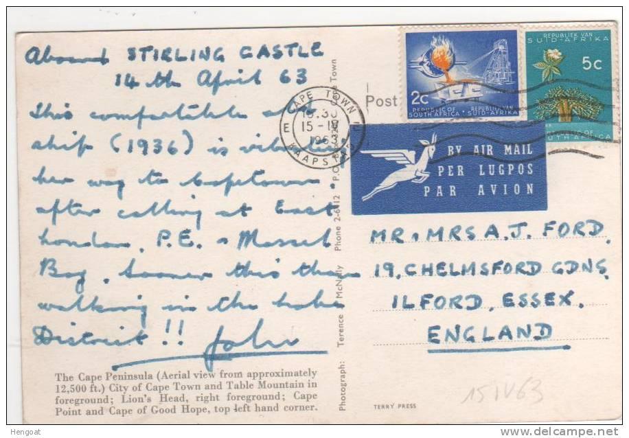 2 Timbres   / Carte Postale Du  15 IV 1963 - Afrique Du Sud (1961-...)