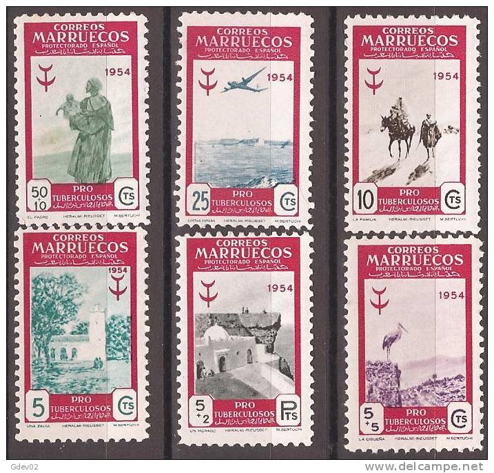MA394-L4074TOO.Maroc Marocco MARRUECOS ESPAÑOL PRO TUBERCULOSOS 1954 (Ed 394/99**)sin Charnela LUJO - Organizaciones