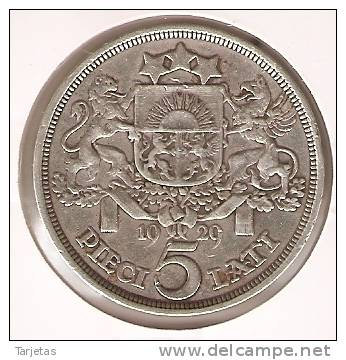 MONEDA  DE PLATA DE LETONIA DE 5 LATI DEL AÑO 1929   (COIN) SILVER - ARGENT. - Letonia