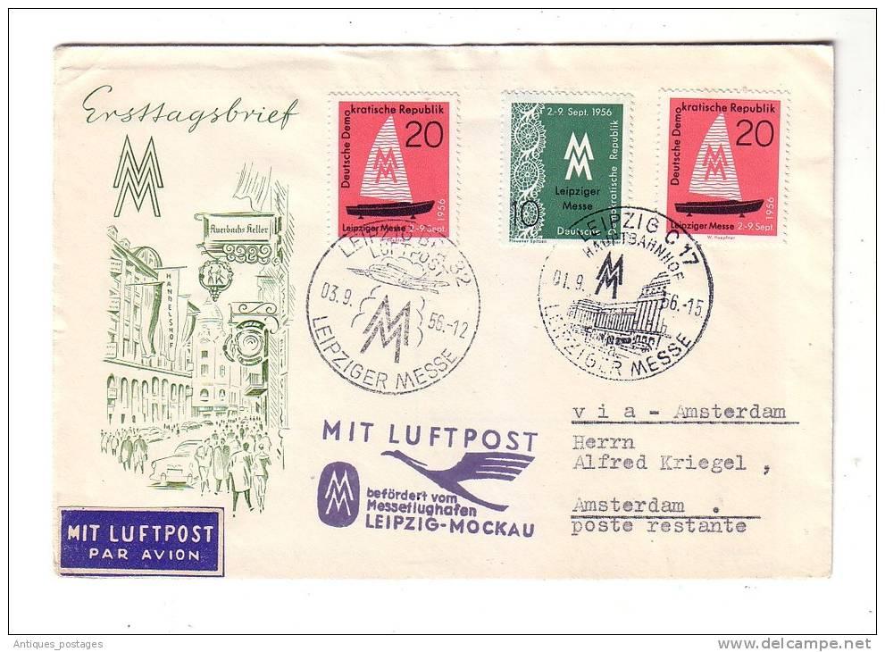 Allemagne Luftpost Leipziger Messe Exprès Amsterdam Leipzig Mockau 1956 - Oblitérés