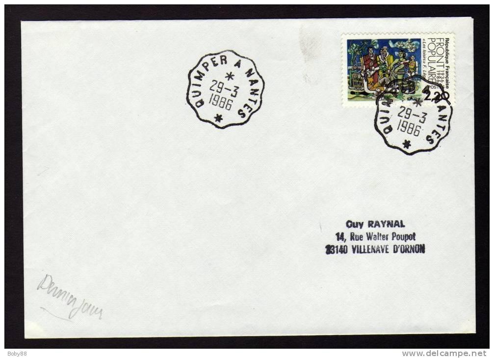 Ambulant NANTES à QUIMPER Et Retour POTHION 1236 Type 3 DERNIER JOUR Du 29/03/1986 Cachet Convoyeur - Réf A20 - Railway Post