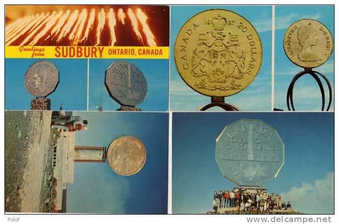 """4 CP - Avec Monuments """"pièce De Monnaie"""" Ontario - Canada      (54496) - Monnaies (représentations)"""