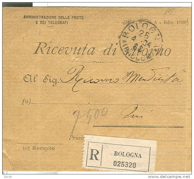 AMMINISTRAZIONE POSTE E TELEGRAFI, RICEVUTA DI RITORNO, MOD. 23/A EDIZ. 1899, BOLOGNA 1904, - Storia Postale