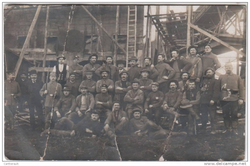 Carte-photo Prisonniers De Guerre (mines De Quedlinburg ). Envoyé Par E. Durand à Sa Soeur à Chaleix -Vidaillat ( 23 ) - Guerre 1914-18