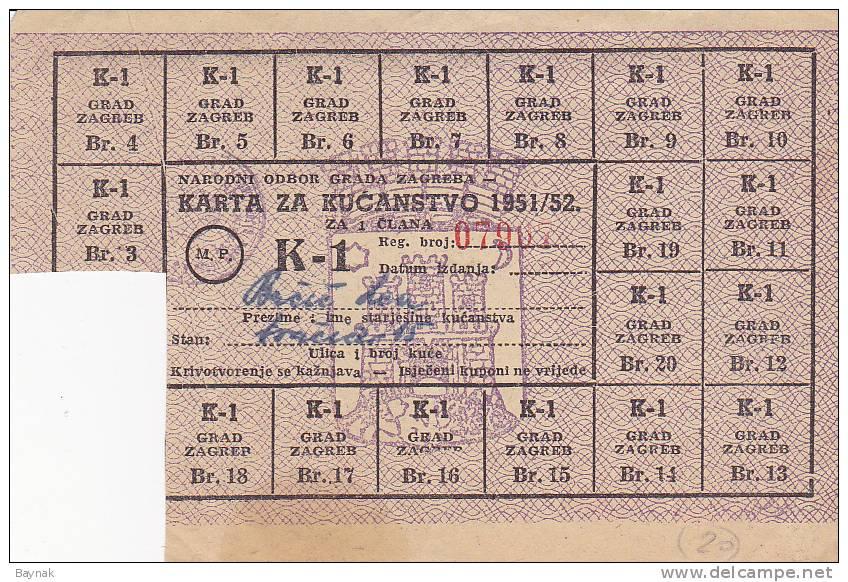 CROATIA  --  BON, COUPON  K - 1   -- POST WAR YEARS 1951  -   GRAD ZAGREB    --  RRR - Kroatien