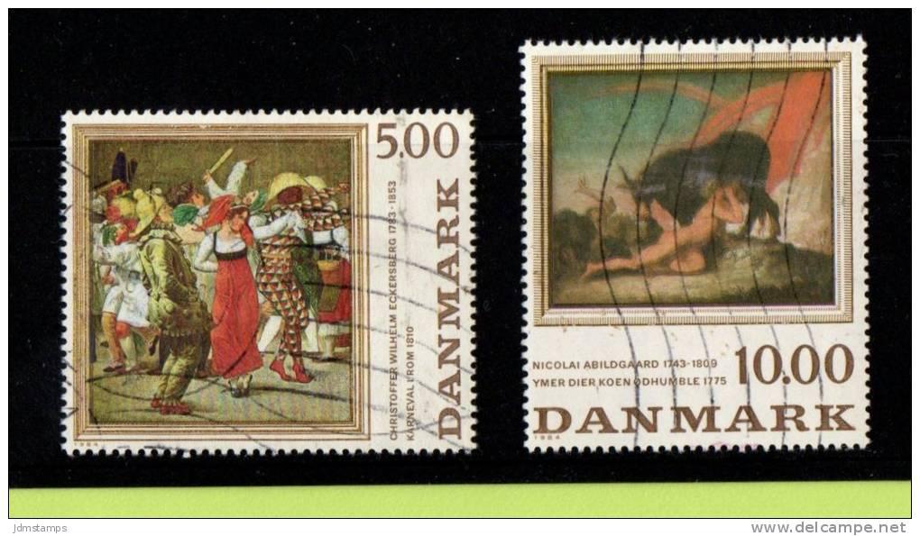 DEN SC #767-8 Used  1984 Paintings, CV $9.00 - Denmark