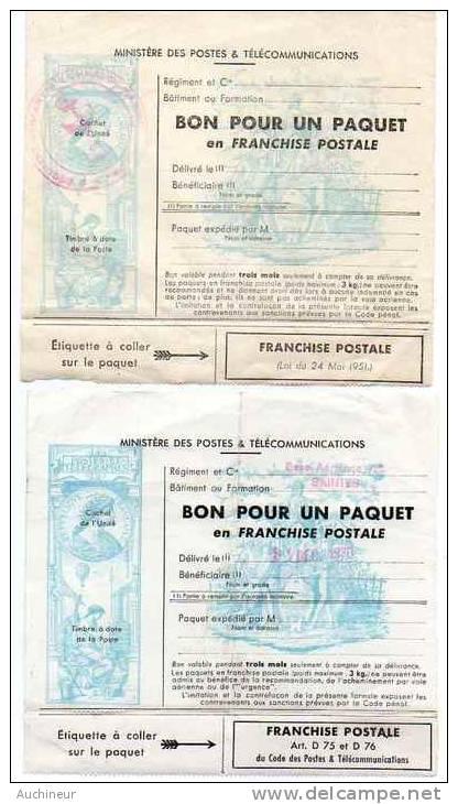 2 Timbres De Franchise Militaire Pour Colis (Y&T 14 & 15) Gomme Sur Vignette Pré-affranchi - Franchigia Militare (francobolli)