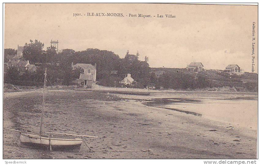 22002 Ile Aux Moines -56 France - Port Miquet, Les Villas  3901 Laurent - Bateau à Gauche ! - Ile Aux Moines