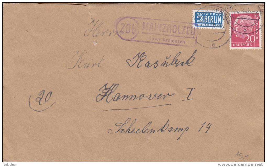 """Brief Mit  Landpoststempel: """"20b Mainzholzen über Kreiensen"""", Mit Poststempel: Kreiensen 4.11.1955 - BRD"""