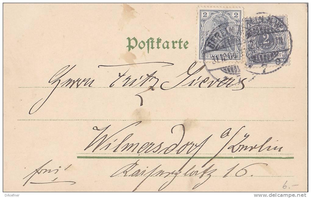 """Mischfrankatur Krone/Germania 1902 Auf  Postkarte, 1 Pfg Unterfrankiert, Mit Vermerk """"frei!"""", Berlin 31.12.1904 - Germany"""