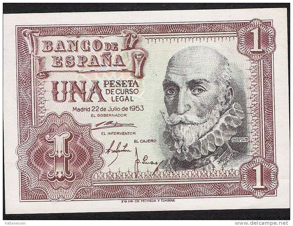 SPAIN   P144  1  PESETA   1953 Serie C    UNC. - [ 3] 1936-1975 : Régence De Franco