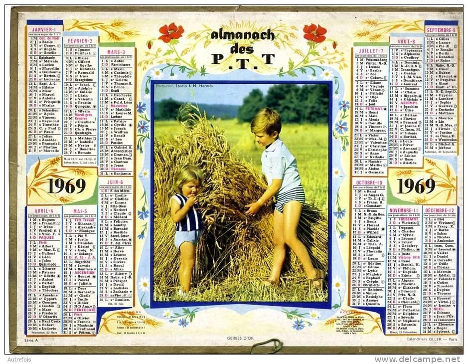 CALENDRIER GERBES D OR 1969 AVEC FEUILLET GIRONDE - Calendriers