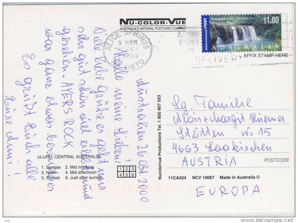 AUSTRALIA  -  ULURU - Used 2000 , Posted W. Nice Stamp - Uluru & The Olgas