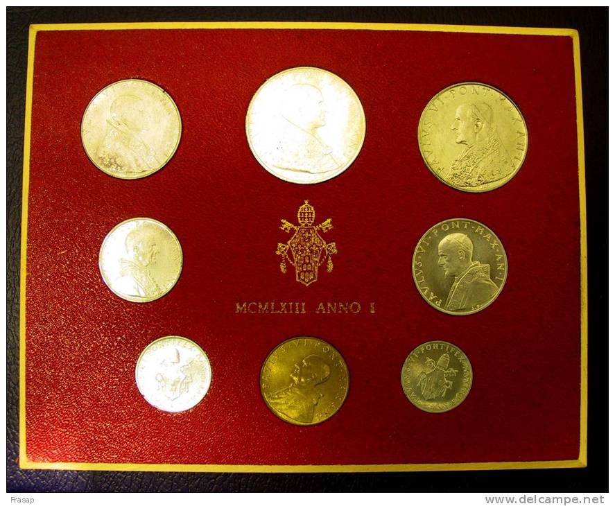 Vatican PAPAL  PAUL VI FOLDER 1963   8 COINS UNC 1 SILVER 500 LIRE RARE - Vatican