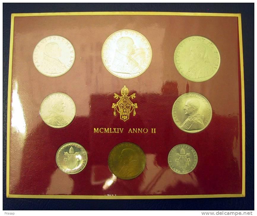 Vatican PAPAL  PAUL VI FOLDER 1964   8 COINS UNC 1 SILVER 500 LIRE RARE - Vatican